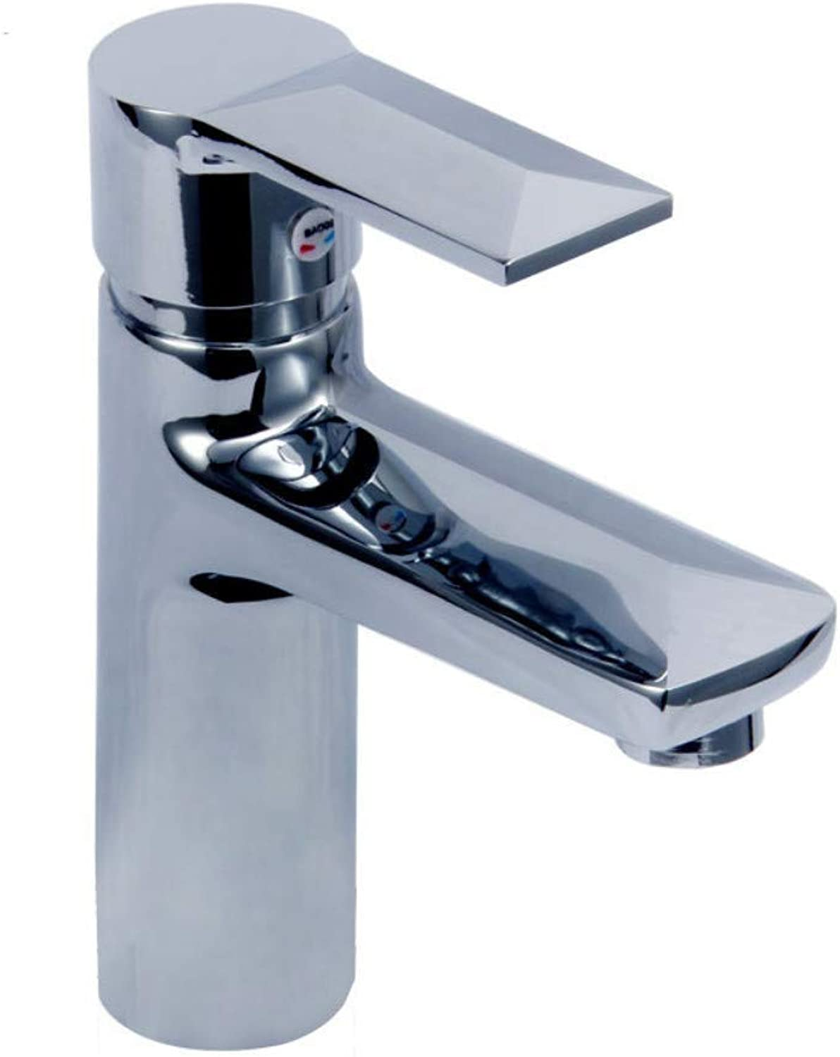 Water Tap Single Handle Taps Basin Copper Single Hole Hot and Cold Faucet Washbasin Bathroom Plus Re-Diamond Mixing Valve Single Hole Faucet