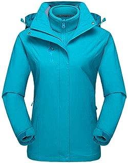 YXHM A Women's Outdoor Mountaineering Suit Waterproof Windproof ski Suit Cycling Sportswear Three-in-one Jacket (Color : Lake Blue, Size : XXXXXL)