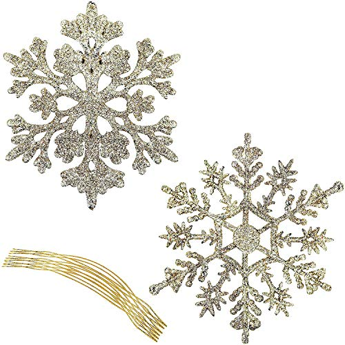 BELLE VOUS Glitter Snowflake Ornaments - Pack of 36 Gold Glittered Snowflake Shape Hanging Tree Decoration Ornaments - Christmas Decoration Accessories