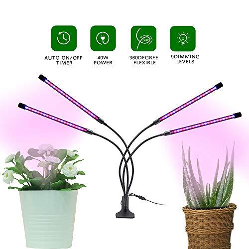 FGKLU Pflanzenlampe Zimmerpflanzen für Sämlinge - 4 Head Timing Pflanzenlicht mit 9 Dimmbaren Ebenen, Verstellbarer Schwanenhals, 3 Schaltmodi