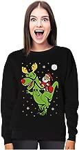 T-Rex Santa Ride Funny Ugly Christmas Sweater Women Sweatshirt