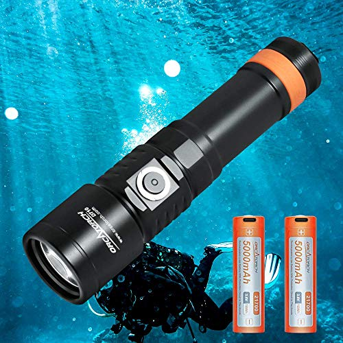ORCATORCH D710 Scuba Diving Light, 3000 Lumen Underwater Flashlight with 6 Degrees Narrow Beam, IP68 Waterproof Night Dive Torch with Battery Indicator, 2Pcs 21700 Rechargeable Battery Included