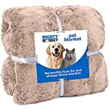 MIGHTY MONKEY PetBlanket, 60x70, Soft Reversible Sherpa Cat and DogBlanket, Machine Washable, Plush, Warm and Cozy Faux Fur Throw, Puppy Bed Cover, for Crates, Couch, Car, Jumbo Size, Soft Beige