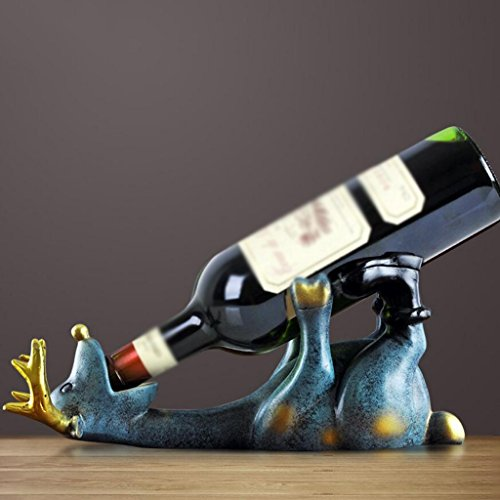 SHILONG Moderne Minimaliste Créatif Résine Sculpture Cerf Casier À Vin Bijoux Mode Salon Armoire À Vin Artisanat Ornements (Color : Blue)