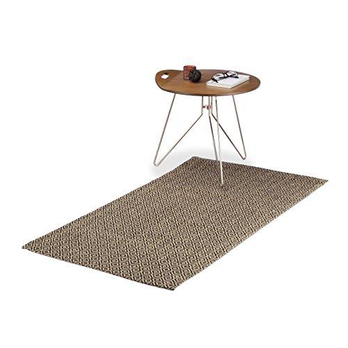Relaxdays Teppichläufer mit Rauten-Muster, Küchenläufer aus Jute, handgefertigter Webteppich,...