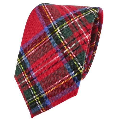 TigerTie Designer Wollkrawatte rot grün blau gelb creme kariert - Krawatte Wolle wool