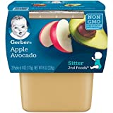 Gerber 2nd Foods, Apple Avocado Pureed Baby Food, 4 Ounce Tubs, 2 Count (Pack of 8)