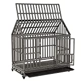 SMONTER 48' Heavy Duty Strong Metal Dog Cage House Shape Pet Kennel Crate Playpen with Wheels,I Shape …