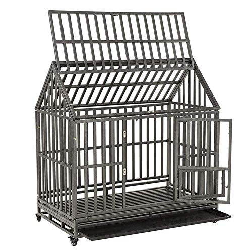 """SMONTER 48"""" Heavy Duty Strong Metal Dog Cage House Shape Pet Kennel Crate Playpen with Wheels,I Shape …"""