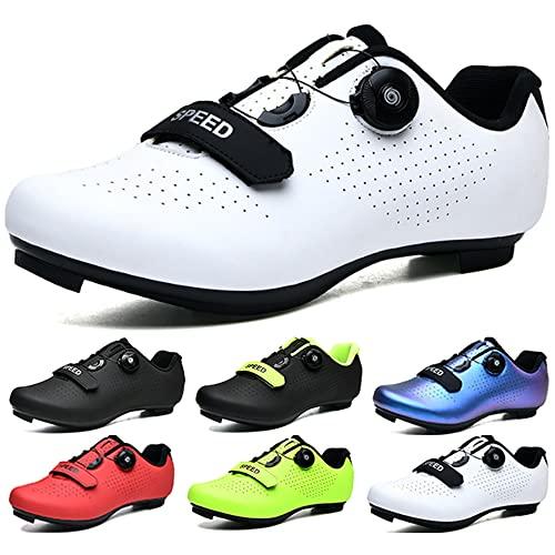 KUXUAN Calzado de Ciclismo para Hombre Calzado de Bicicleta de Carretera Peloton Interior para Mujer con Bloqueo Calzado Deportivo de Ciclismo,White-36EU