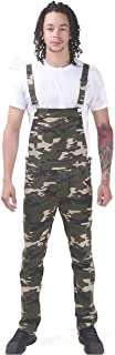 Wash Clothing Company Mens Dungarees Skinny Fit Denim Bib Overalls 3 Colours Camo Streetwear, Camouflage, 30W