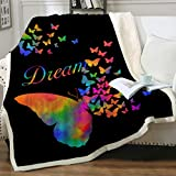 Sleepwish Sherpa Fleece Blanket Rainbow Butterfly Fuzzy Blanket Super Soft Cozy Warm and Plush for Couch Sofa Bed Black Neon Blanket for Living Room Dorm Room Twin (60' X 80')