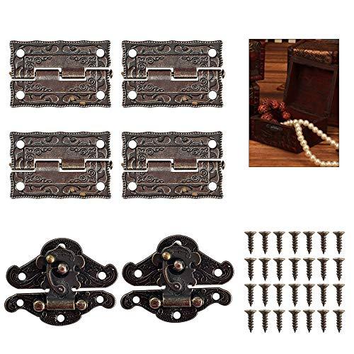 Nahuaa 2 Cierre de Caja Cerradura Vintage Decorativo Antiguo y 4 Piezas Mini Bisagra de Bronce para Caja de Joyería Pequeña Gabinete Retro con 28 Tornillos