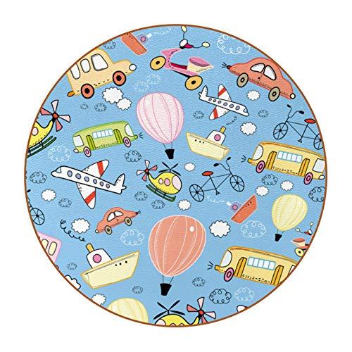 6 posavasos redondos de piel de microfibra para bebidas, estilo rústico, decoración del hogar, creatividad para cocina, sala de estar, juguete para jugar en avión, transporte de bicicletas