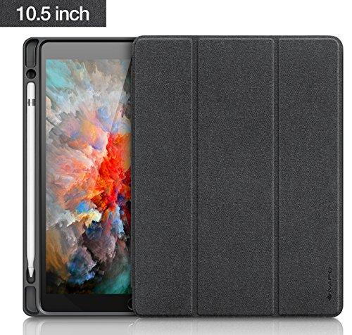 iVAPO, custodia nera, in ecopelle di poliuretano, per iPad Pro 10.5/12.9 pollici, cover con portapenna, effetto di accensione e spegnimento automatico, con funzione di supporto a leggio