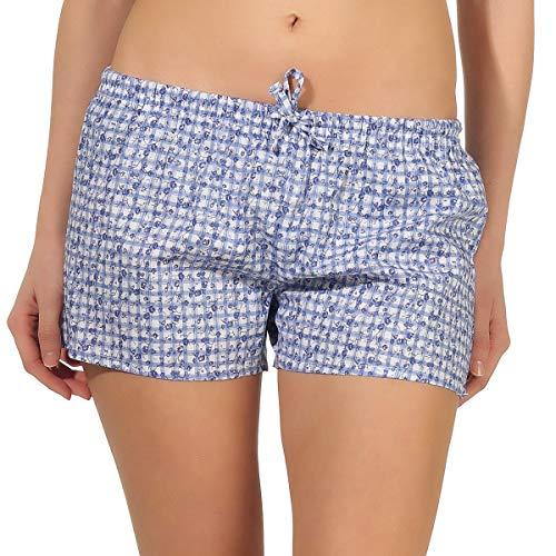 NORMANN-Wäschefabrik Elegante Damen Shorty Schlafanzughose mit floralem Druck, Kurze Pyjamahose Shorts kariert, Farbe:blau, Größe2:36/38