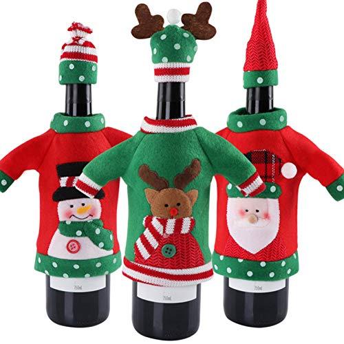 XIJING 3 Pezzi Copri Bottiglia di Vino di Natale, Sacchetti di Topper per Vino Alce di Babbo Natale con Pupazzo di Neve per Decorazioni Natalizie Capodanno