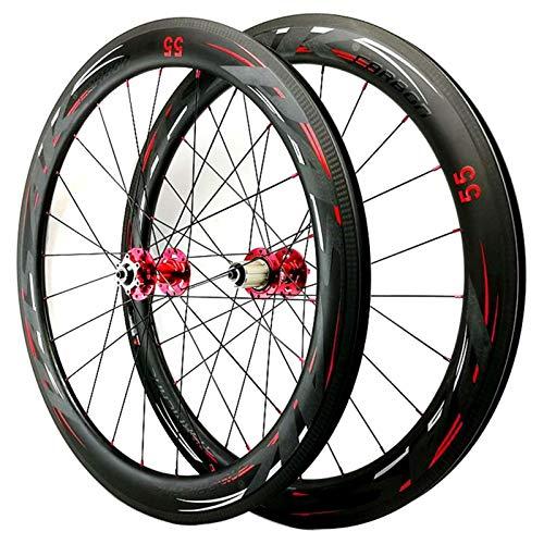 TYXTYX Ejes de liberación rápida Accesorio para Bicicleta Juego de Ruedas sin cámara 700C Llanta de Bicicleta de Fibra de Carbono 40/50 / 55mm Freno de Disco Ruedas de Bicicleta de Carretera 3K Mat