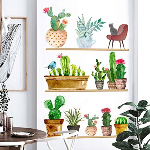 Cactus Wall Decals Green Plants Wall Stickers for Bedroom Leaves Cat Bird Wallpaper DIY Art Murals, Removable Nature Plants Wall Posters for Nursery Living Room