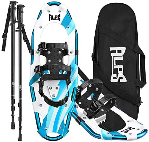 ALPS 25 Inches Snow Shoes for Men Women Youth with Trekking Poles Carrying Tote Bag Blue product image