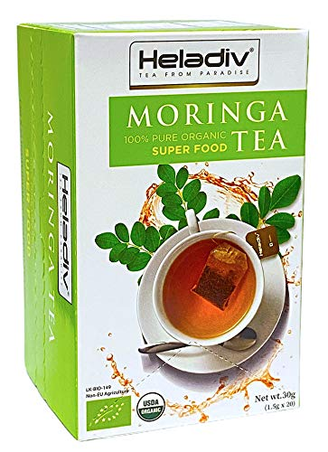 HELADIV Moringa Tea - 100% Organic Moringa Super Food Tea - Energy & Immunity Booster, Weight Loss, Stress Relief - 20 Individually Sealed Moringa Tea Bags