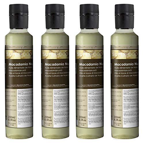Naissance Aceite culinario de Nuez de Macadamia Virgen BIO – 1 Litro (4x250ml) - Convive, certificado ecológico y 100% puro.