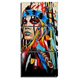 Native American Painting Indian Canvas Wall Art Indians Woman Girl Colorful Feathered Prints Wrapped on Frames for Home Wall Art Decoration (14x20inchx3 Pieces)