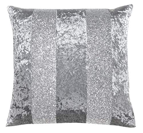 Red Rainbow Crushed Velvet & Silver Glitter Stripes Sparkle Cushion Cover (Grey & Silver, 18' x 18')