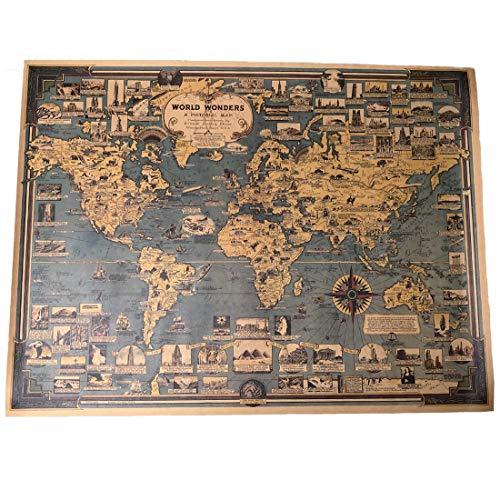 A'sTool 世界地図 アンティーク レトロ ポスター (Aタイプ)
