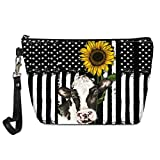 UZZUHI Sunflower Cow Makeup Bag Women Zipsple Cosmetic Bag Waterproof PU Leather Cosmetic Pouch Animal Flower Print Small Makeup Purse for Girls