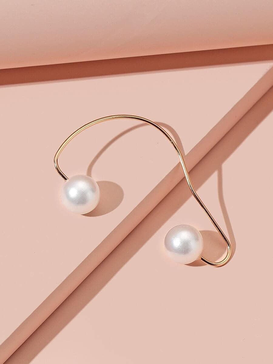 frenma Hoop Earrings Faux Pearl Decor Ear Climber (Color : White)