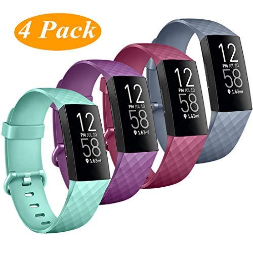 Wanme Pack 4 für Fitbit Charge 4 Armband Fitbit Charge 3 Armband, Verstellbarer Ersatzarmband Kompatibel mit Fitbit Charge 4 und Fitbit Charge 3 (04 Lila/Weinrot/Blaugrau/Minzgrün, Small)