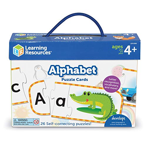 Learning Resources Alphabet Puzzle Cards, Kindergarten Readniness, Self Correcting Puzzles, Ages 4+, Multi