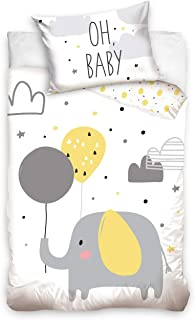 DHestia - Juego Funda Nórdica 100% Algodón Natural para Cuna de Bebé Elefante BABY203004