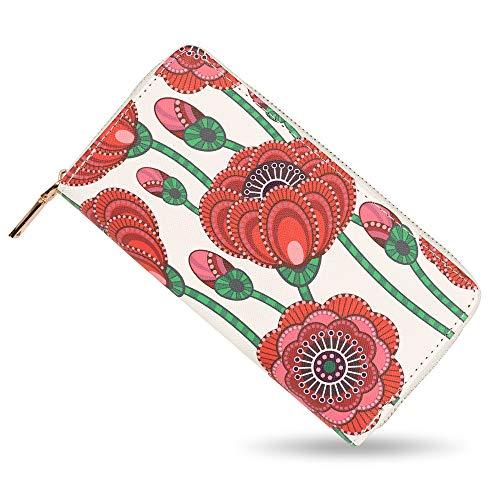 bluzelle Geldbeutel Geldbörse Portemonnaie aus Kunst-Leder mit Handyfach, Lange Premium Design Brieftasche, Umlaufender Reißverschluss Münzfach Kartenfächer Geldtasche, Designs:Poppy