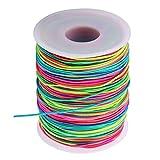 JZZJ Elastische Schnur Beading Cord Faden Stretch Fabric Crafting String, 1 mm (Regenbogen-Farbe, 100 m)