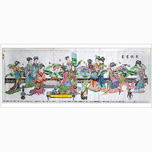 Essinged DIY. 210 * 76 cm Bild Traditionelle chinesische Schönheit 12 Figuren Kreuzstich Kits Gedruckt Muster Stickerei Set Wohnzimmer Dekor (Cross Stitch Fabric CT Number : 11CT)