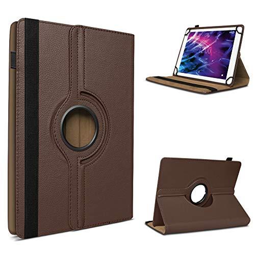 UC-Express Tablet Schutzhülle für Medion Lifetab P8912 hochwertiges Kunstleder Hülle Tasche Standfunktion 360° Drehbar Cover Universal Hülle, Farben:Braun