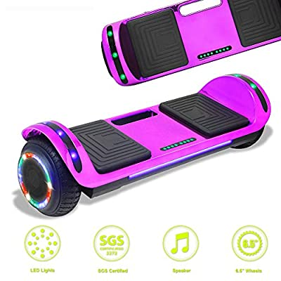 Latest Model Electric Hoverboard Dual Motors Two Wheels Smart self Balancing Scooter with Built in Speaker LED Lights for Gift (Chrome-Purple)