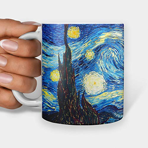Taza de regalo con diseño de Van Gogh de Noche estrellada, taza de café, taza de té con meme de Internet (325 ml)