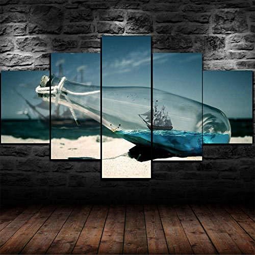 IIIUHU Cuadro en Lienzo Barco En Una Botella Barco Mar 150x80cm - XXL Impresión Material Tejido no Tejido Artística Imagen Gráfica Decoracion de Pared - 5 Piezas - Listo para Colgar