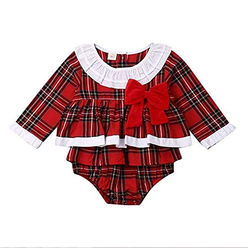 Bebé Recién Nacida Vestido de Navidad Mameluco con Volantes para Niña Ropa...