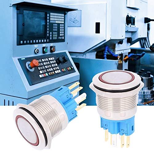 Botón de reinicio de anillo 22mm 100% nuevo tamaño pequeño AC220V Reset botón interruptor de reemplazo con nivel de protección IP65 (rojo)