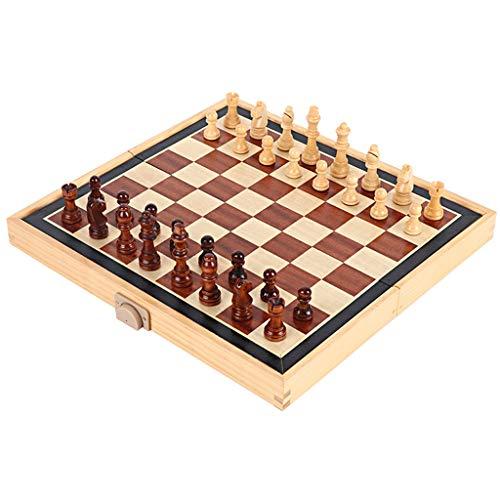 LMG Ajedrez Juego de tableros de ajedrez, ajedrez del Tablero de ajedrez magnético de 35 x 35 cm, para niños y Adultos, Placas Plegables y portátiles para Viajar
