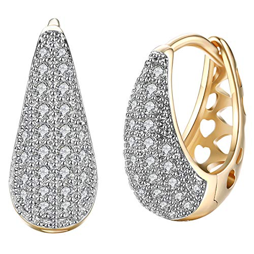 14K Gold Plated CZ Hoop Earrings For Women Men Fashion Cubic Zirconia Earrings 0.7