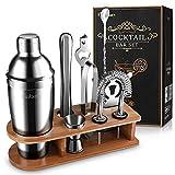 Baban 10 Piezas Coctelera Cócteles Set, Exquisito Soporte de Bambú, 750ml Coctelera de Acero Inoxidable, Profesional Kit de...