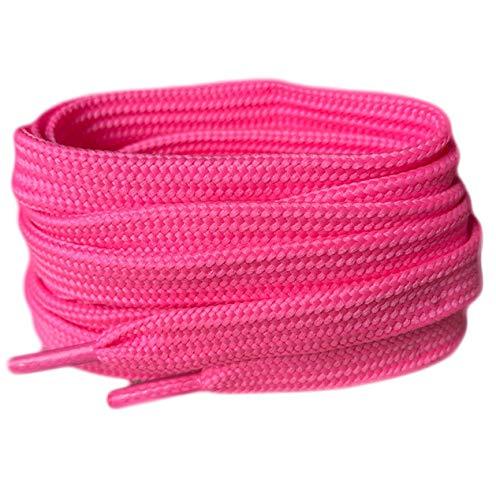 NEON PINK Farbige Flach Schnürsenkel für Sportschuhe Skate Schuhe, Hi Tops, Schuhe Stiefel Converse Nike Converse Puma Schnürsenkel Schnürsenkel sind 10 mm breit Pink neon pink