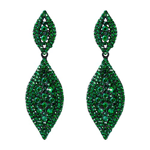 Flyonce Women's Rhinestone Crystal Wedding Bridal 2 Leaf Drop Dangle Chandelier Earrings Black-Tone Green