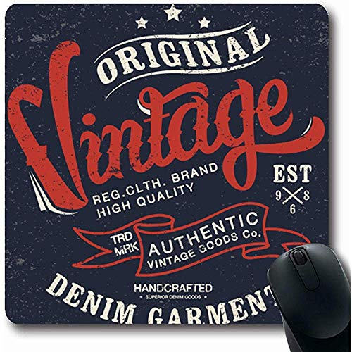 Mousepads Amerika Varsity Vintage Denim Draag Tee Classic Jeans Stamp Retro Label Verf Ontwerp Oblong Vorm 18X22Cm Antislip Gaming Mouse Pad