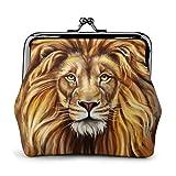 Una Gran Cabeza de león de Cuero de la PU Exquisita Hebilla monederos Vintage Bolsa clásica candado Cambio Monedero Carteras Regalo